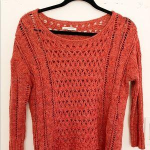 American Eagle | Crew Neck | Crochet Sweater, Rust